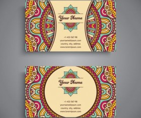 Business card with ethnic pattern vector set 08