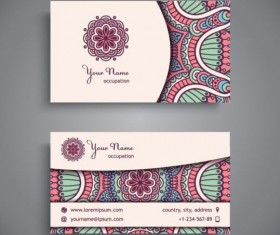 Business card with ethnic pattern vector set 09