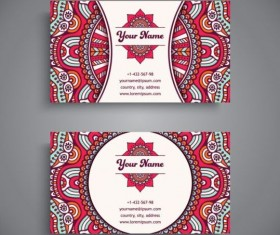 Business card with ethnic pattern vector set 10