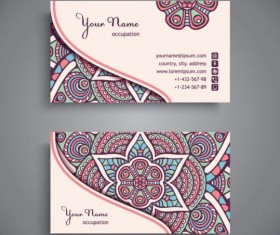Business card with ethnic pattern vector set 11