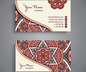 Business card with ethnic pattern vector set 12
