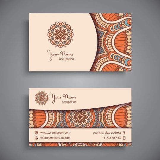 Business card with ethnic pattern vector set 13