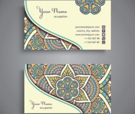 Business card with ethnic pattern vector set 14