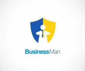 Business man shield vector logo