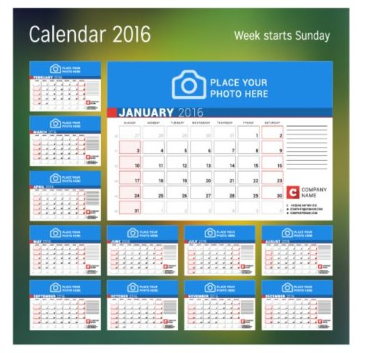 Calendar Design Vector Free Download : Calendar with photo vector design