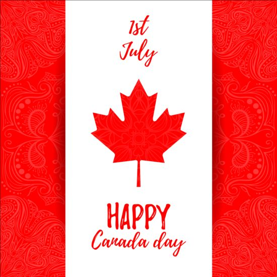 Canada day background with maple leaf vector 02