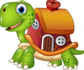 Cartoon turtles with house vector