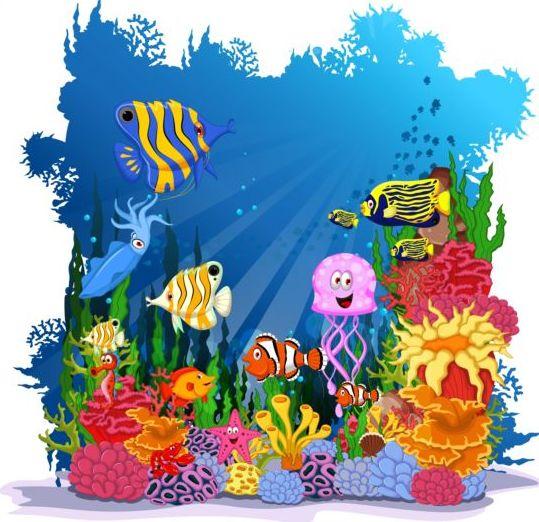 cartoon underwater world beautiful vector 04 vector