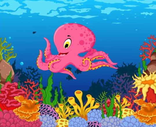 cartoon underwater world beautiful vector 05 free download