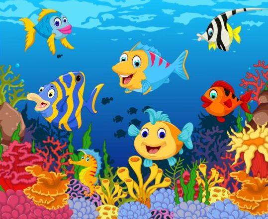 Cartoon underwater world beautiful vector 07 - Vector ...