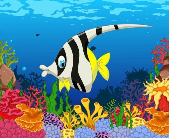cartoon underwater world beautiful vector 08 vector