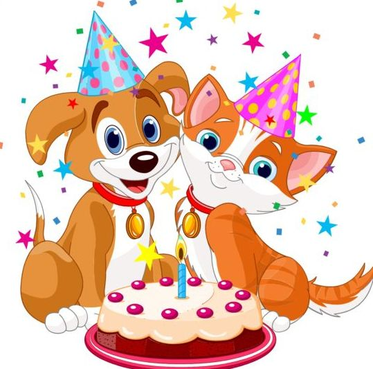 Cat And Dog With Birthday Cake Vector Vector Animal