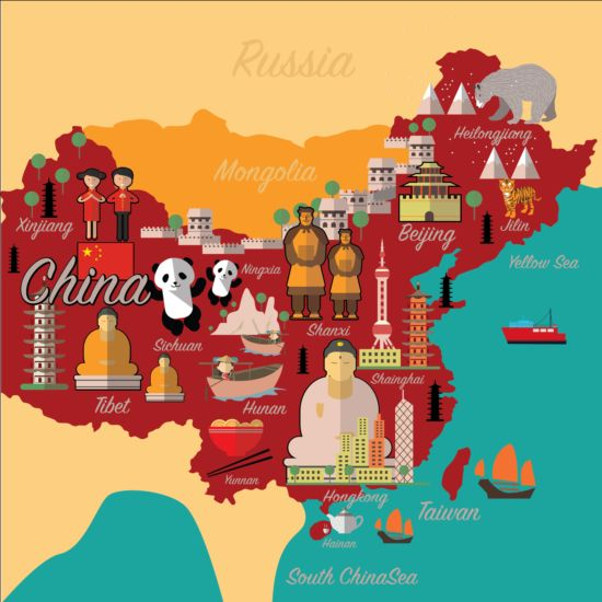 China Map With Infographic Vector 01