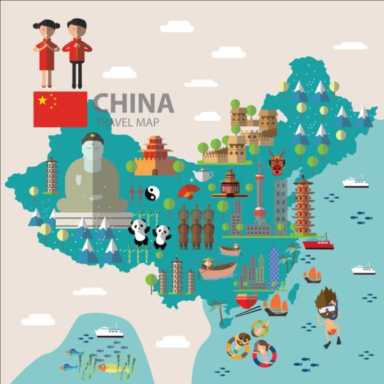 China map with infographic vector 02 Vector Business Vector