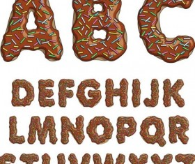 Chocolate alphabet vector material