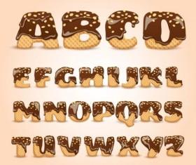 Chocolate cookies alphabet vector