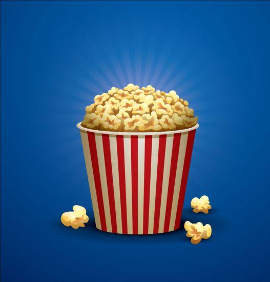 Popcorn Wallpaper: Cinema And Popcorn Buckets Vector Background 07 Free Download