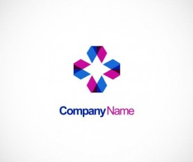 Circle triangle geometry colored technology logo vector