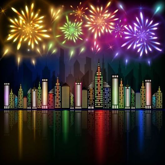 city night with fireworks background vector 04 free download