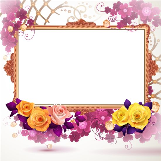 Classical frame with flower design 08 free download