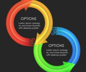 Colored arrow with option infographic vector 05