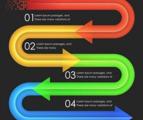Colored arrow with option infographic vector 06
