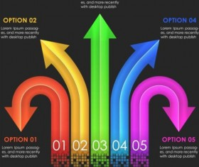 Colored arrow with option infographic vector 09