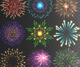 Colored holiday fireworks illustration vector 01