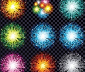 Colored holiday fireworks illustration vector 02