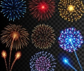Colored holiday fireworks illustration vector 03