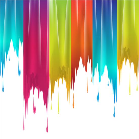Colored Paints Drip Background Vector 04 Vector