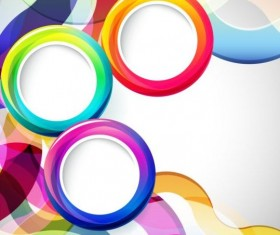 Colored round with abstract background vector