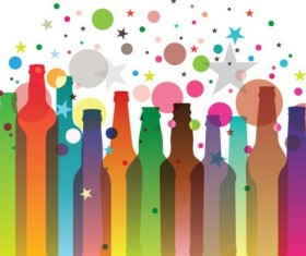 Colorful bottles with holiday background vector