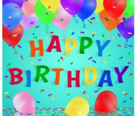 Confetti birthday background with colored balloons vector