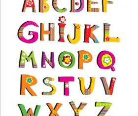 Cute flower alphabet vector 01