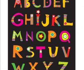 Cute flower alphabet vector 02