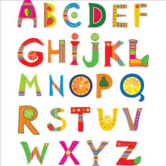 Cute Fruits Alphabet Vector 01