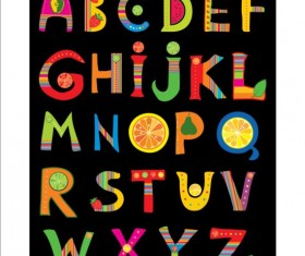 Cute fruits alphabet vector 02