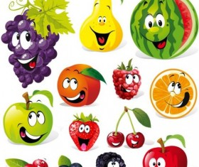 Cute fruits smile icons vector