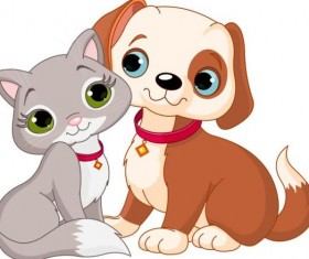 Cute kitten and puppy vector material 02