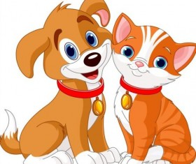 Cute kitten and puppy vector material 03