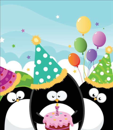 Cute Penguin With Birthday Cake Vector Free Download