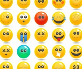 Cute smile expression icons set