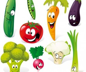 Cute vegetables smile icons vector