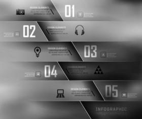 Dark Styles Options Infographics Vector 02