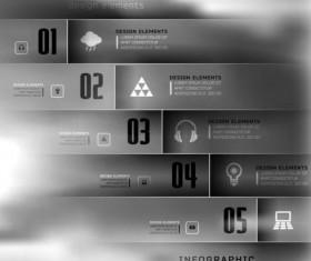 Dark Styles Options Infographics Vector 03