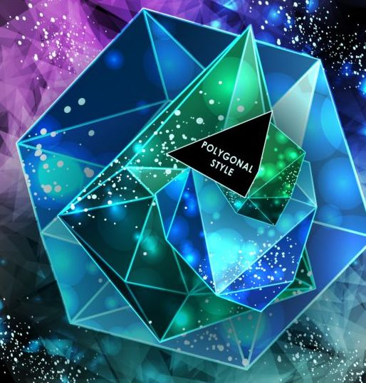 Diamond polygon with abstract background vector 07