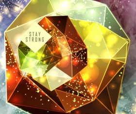 Diamond polygon with abstract background vector 08