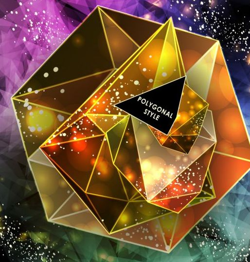 Diamond polygon with abstract background vector 09