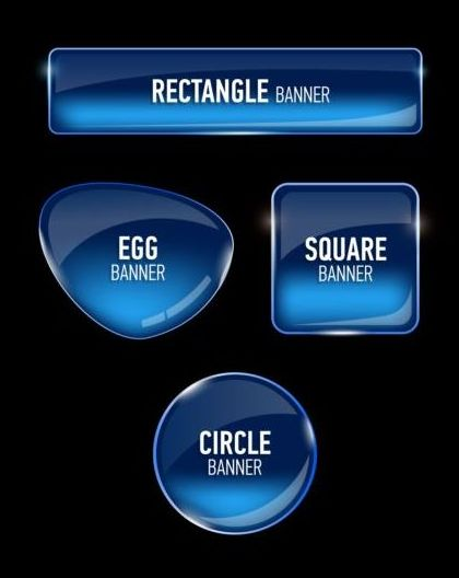 Different shape glass banner vector 03
